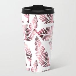 Modern mauve pink tropical summer leaves pattern Travel Mug