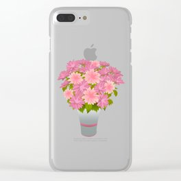 Pink asters in blue vase Clear iPhone Case