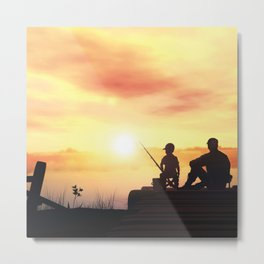 Father and Child Sunset Metal Print