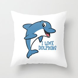 """Fantastic and fabulous gift to your friends and family! Grab this """"I Love Dolphins"""" tee design now!  Throw Pillow"""