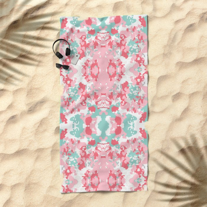Arabella - abstract minimal pattern print art home decor trendy girly boho dorm college painting Beach Towel