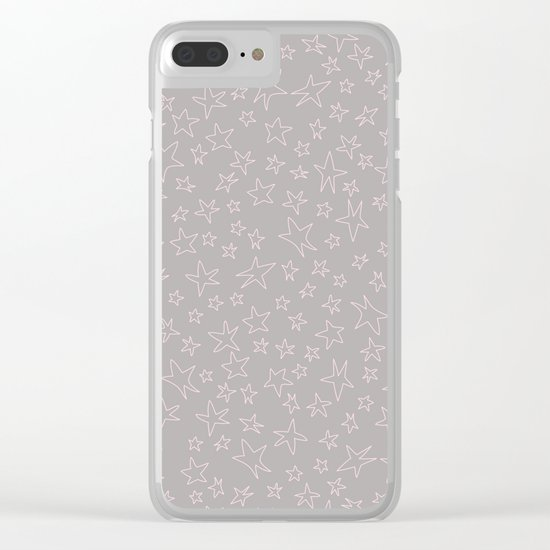 Pink handpainted little stars on grey background Clear iPhone Case