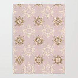 Ornamental Geometric Soft Pink and Metallic Poster