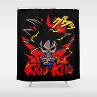 dbz Shower Curtains featuring Goku Skull DBZ by offbeatzombie