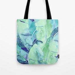 Banana Tree Leaves | Tropical  BLUE Watercolor Tote Bag