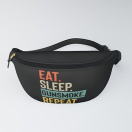 Eat Sleep gunsmoke Repeat retro vintage colors Fanny Pack