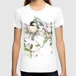 Chickadee and Dogwood Flowers T-shirt