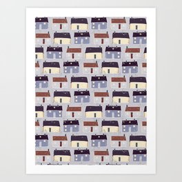 Houses Village Vector Pattern Repeat Seamless Background Art Print