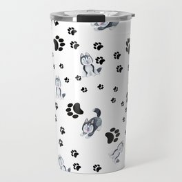 Hand painted watercolor black white dog paw's pattern Travel Mug