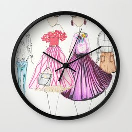 Chic Clique Fashion Illustration Wall Clock
