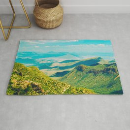 Vintage Pastel 1950's Style Mountain Range Green Valley With blue Sky Rug