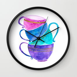Stacked teacups Wall Clock