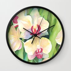 Cascading orchids Wall Clock
