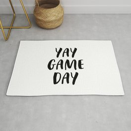 Yay Game Day Football Sports Black Rug