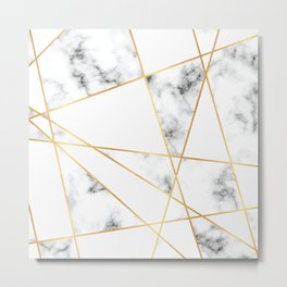 Stone Effects White and Gray Marble with Gold Accents Metal Print