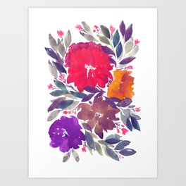hand painted flowers_2a Art Print