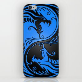 Blue and Black Yin Yang Dragons iPhone Skin