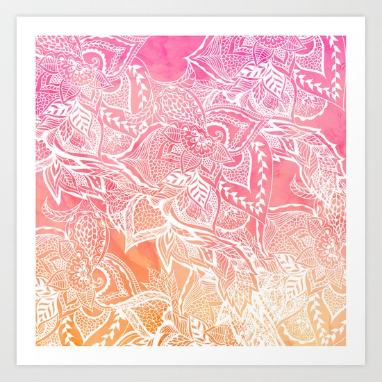 Modern pink coral ombre sunset watercolor floral white boho hand drawn pattern Art Print