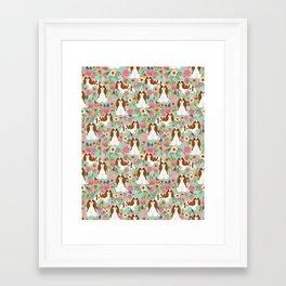 Blenheim Cavalier King Charles Spaniel dog breed florals pattern Framed Art Print