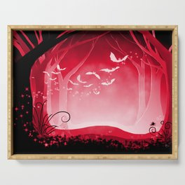 Dark Forest at Dawn in Ruby Serving Tray