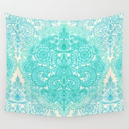 Happy Place Doodle in Mint Green & Aqua Wall Tapestry