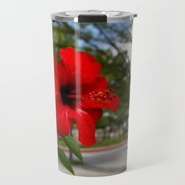 Red Flower Bloom Travel Mug