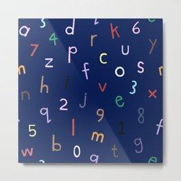 Synaesthesia Alphabet Navy Metal Print