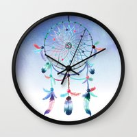 dream catcher Wall Clocks featuring Dream Catcher by General Design Studio
