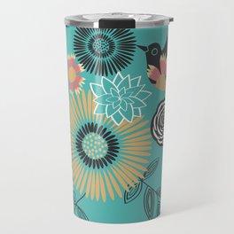 Birds & Bees - Turquoise Travel Mug