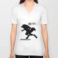 wolves V-neck T-shirts featuring Wolves by Halopromise