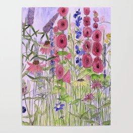 Watercolor Wildflower Garden Flowers Hollyhock Teasel Butterfly Bush Blue Sky Poster