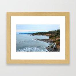 Sunset at Boiler Bay, Oregon Framed Art Print