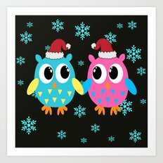 Xmas Owls in the Snow Art Print