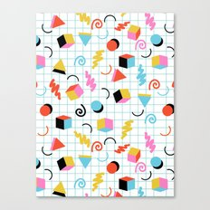 Clutch - memphis 80s style retro throwback cubes geometric triangles 1980's pattern Canvas Print