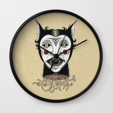 Cat Head with Worms Wall Clock