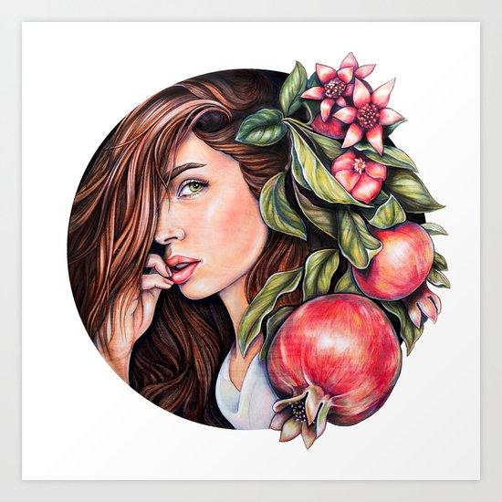 Pomegranate flowers Art Print