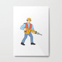 Construction Worker Holding Jackhammer Cartoon Metal Print