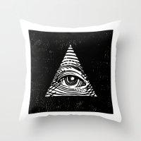 illuminati Throw Pillows featuring Illuminati by Jenny Joleen