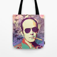 hunter s thompson Tote Bags featuring Hunter S. Thompson by victorygarlic - Niki