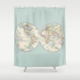 Hemispheres on Blue Shower Curtain