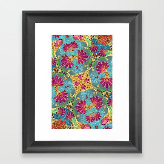 colorful flower pattern Framed Art Print