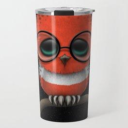 Baby Owl with Glasses and Austrian Flag Travel Mug