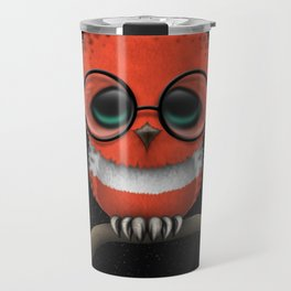 Baby Owl with Glasses and Austrian Flag Travel Mug