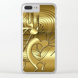 Magical Kokopelli in Gold Clear iPhone Case