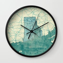 Rhode Island State Map Blue Vintage Wall Clock
