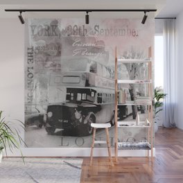 Vintage England London Britain Illustration Pastel Colors Wall Mural