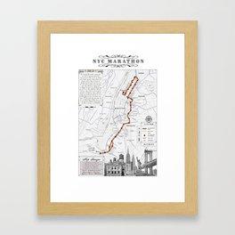 New York City Black & White {marathon course} map 26.2 Framed Art Print