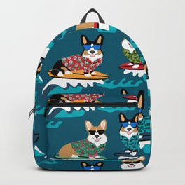 Surfing Corgis Dog summer beach hang 10 catch a wave summer dog pattern Backpack