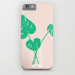 Monstera Plant Leaves in Water Glass iPhone Case