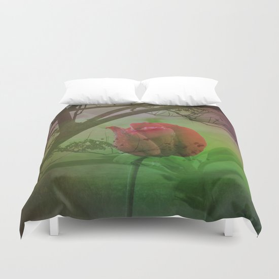 Dipped in Dew, Nestled by Nature Duvet Cover